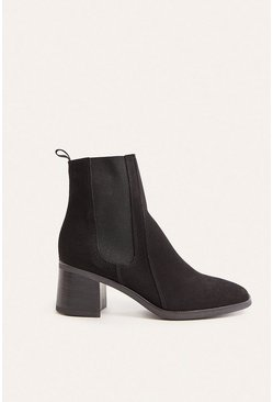 Black High Ankle Heeled Suede Chelsea Boot