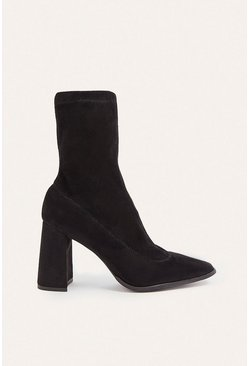 Black Heeled Square Toe Sock Ankle Boot