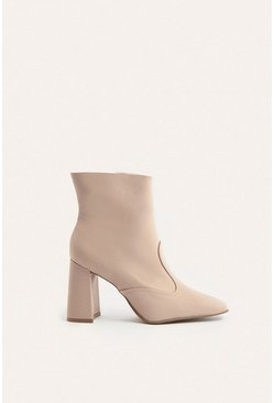 Nude Heeled Square Toe Ankle Boot