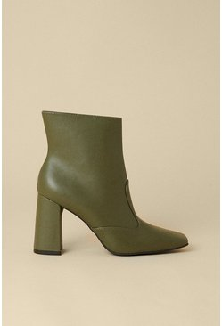 Pale green Heeled Square Toe Ankle Boot