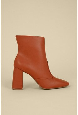 Tan Heeled Square Toe Ankle Boot