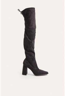 Black Heeled Square Toe Sock OTK Boot