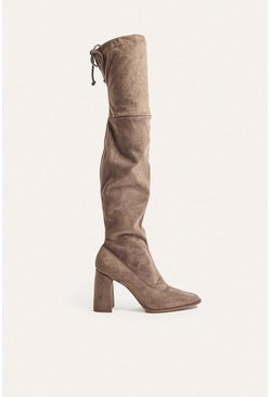 Mink Heeled Square Toe Sock OTK Boot