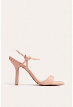 Nude Knotted Ankle Strap Stiletto Heel