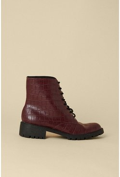 Berry Lace Up Croc Biker Boot