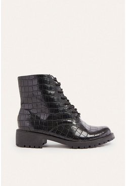 Black Lace Up Croc Biker Boot