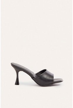 Black Squared Slip On Heeled Mule