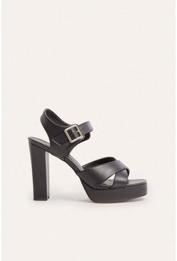 Black Platform High Block Heel