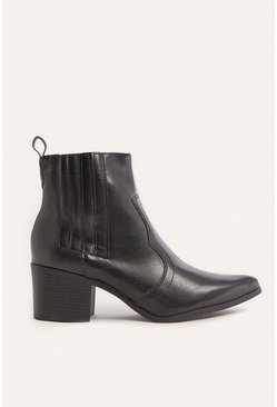 Black Western Heeled Ankle Boot
