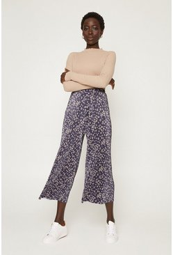 Navy Printed Plisse Culottes