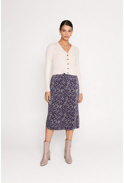 Navy Printed Plisse Midi Skirt