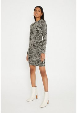 Grey Jacquard Mini Dress