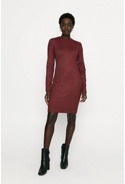 Red Jacquard Mini Dress