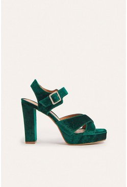 Green Platform Textile High Block Heel