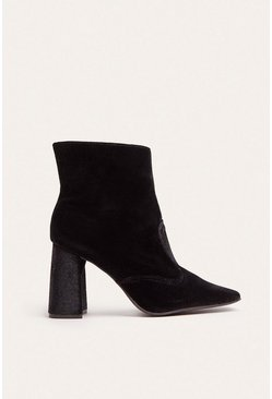 Black Heeled Square Toe Ankle Boot