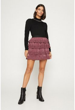 Pink Metallic Tiered Skirt