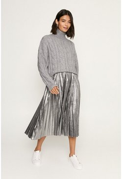 Grey Cable Roll Neck Jumper
