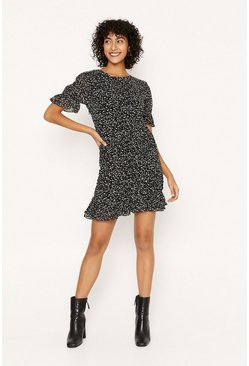 Black Rouched Spot Print Dress