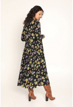 Black Dark Floral Midi Dress