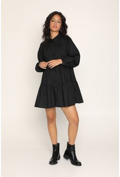 Black Tiered Smock Shirtdress