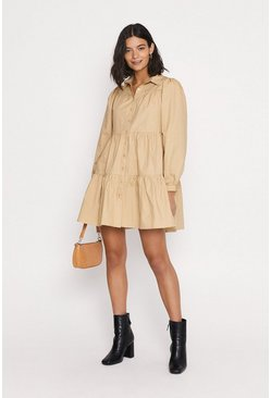 Taupe Tiered Smock Shirtdress