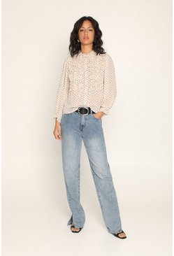 Cream Spot Ruffle Blouse