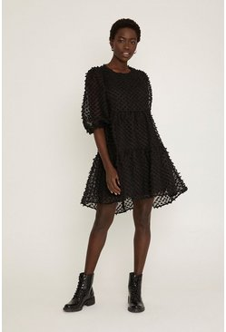 Black Textured Smock Dress