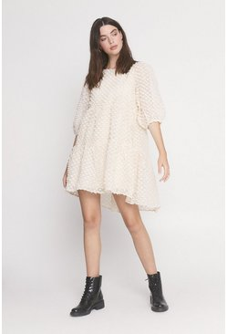 Cream Textured Smock Dress