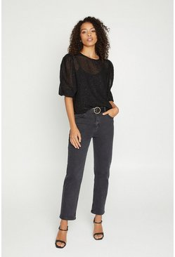 Black Textured Button Back Top