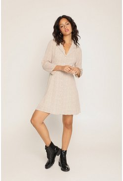 Cream Spot Print Shirt Dress