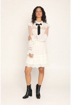Cream Pussy Bow Lace Victoriana Dress