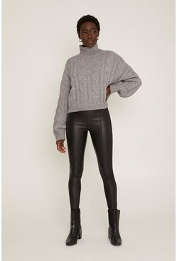 Black Faux Leather Seam Detail Leggings