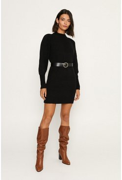 Black Cable Sleeve Tunic Dress