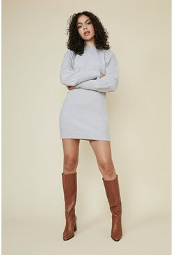 Grey Cable Sleeve Tunic Dress