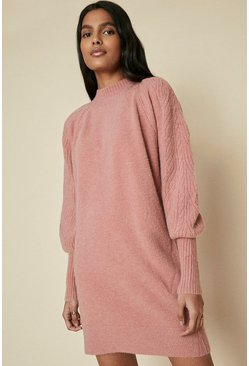Pink Cable Sleeve Tunic Dress