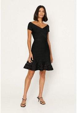 Black Bardot Knitted Skater Dress