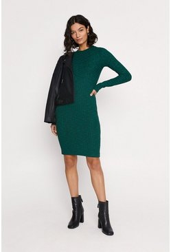 Green Rib Brushed Midi Dress