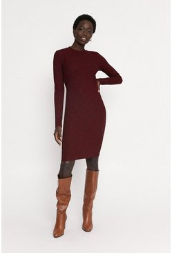 Wine Rib Brushed Midi Dress