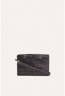 Black Structured Weave Crossbody Bag