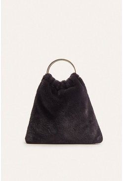 Black Faux Fur Ring Handle Bag