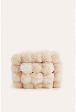 Cream Faux Fur Pom Bag