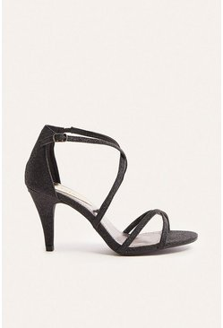 Black Glitter Strappy Open Toe Heel