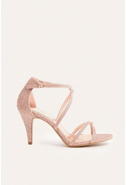 Rose gold Glitter Strappy Open Toe Heel
