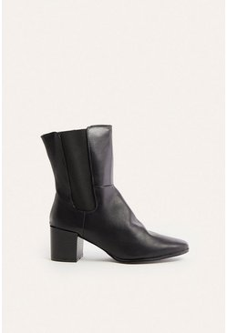 Black High Leg Ankle Boot