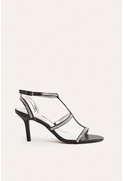 Black Hotfix Strappy Open Toe Heel