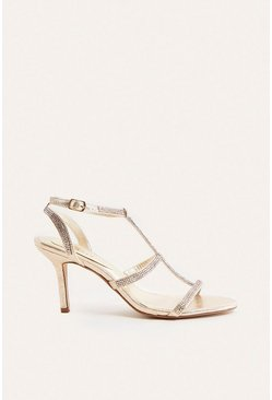 Gold Hotfix Strappy Open Toe Heel