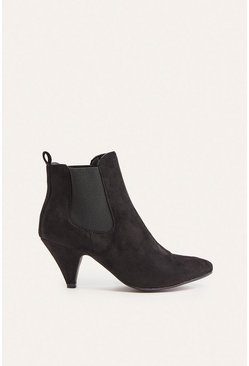 Black Low Heeled Ankle Boot
