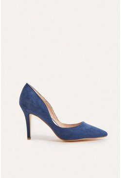 Navy Suedette Cut Out Court