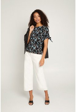 Black Floral Tie Sleeve T Shirt