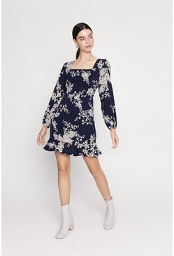 Black Floral Square Neck Flippy Hem Dress